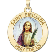 Saint Emiliana Round Religious Medal Color