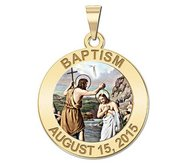 Personalized Baptism Religious Medal  Color EXCLUSIVE