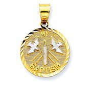 14K Yellow Gold   Rhodium My Baptism Pendant