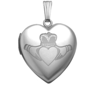 Sterling Silver   Sweetheart  Celtic Claddagh Locket