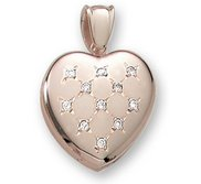 18k Premium Weight Yellow Gold Diamond Heart Picture Locket