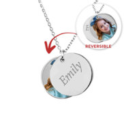 Sterling Silver Double Round Charm Necklace