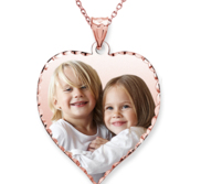 14k Rose Gold Plated Heart Photo Pendant w  18 Inch Chain