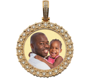 Solid 14k Gold Premiere Diamond Round Photo Engraved Pendant