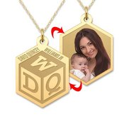 Personalized Childrens Block Monogram Photo Pendant