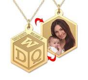 Personalized Childrens Block Monogram Photo Pendant