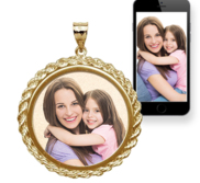 Round Photo Engraved Rope Frame Pendant