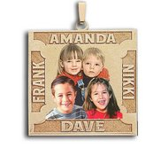 Square Photo Pendant w  4 Names Etched