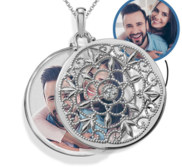Photo Engraved Ornate Round Swivel Locket