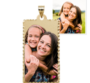 Rectangle Pendant with Diamond Cut Edge Photo Pendant Picture Charm