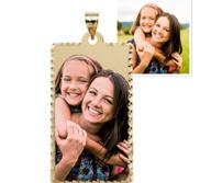 Rectangle Pendant with Diamond Cut Edge Photo Pendant Picture Charm