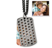 Stainless Steel Brushed Black IP plated with CZ Movable Dog Tag Necklace