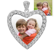 Sterling Silver   CZ Premium Heart  Photo Pendant