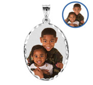 Oval w  Diamond Cut Edge Photo Engraved Pendant