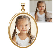 Oval w  Bezel Frame Photo Engraved Pendant