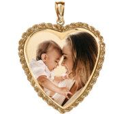 Large Heart with Rope Frame Photo Pendant Picture Charm