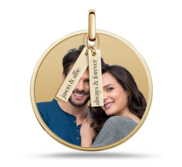 Round Photo Engraved Disc Pendant w  Personalized Charms