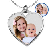 Stainless Steel Photo Engraved Heart Pendant with 18  Chain