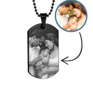 Black Plated Stainless Steel Photo Dog Tag Photo Pendant w  24 inch Ball Chain