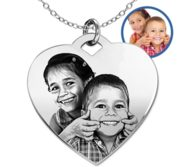 Antiqued Laser Carved Sterling Silver Photo Heart Necklace with 18  Necklace Included