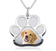 Stainless Steel Photo Engraved Paw Print Pendant