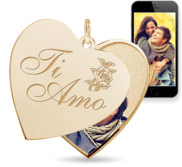 Ti Amo   I Love You in Italian  Heart Swivel Photo Pendant