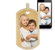 Solid 14k Gold Photo Engraved Diamond Trimmed Dog Tag