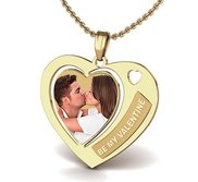 Heart Photo Pendant W   Be My Valentine  Etched