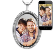 Polished Oval Photo Pendant w  Beveled Frame