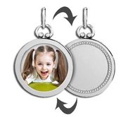 Sterling Silver Open Face Photo Pendant w  Engravable Back