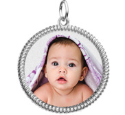 Sterling Silver Photo Engraved Round Rope Frame