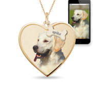 Photo Pendant Heart Necklace w  Personalized Dog Bone Tags
