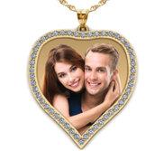 14k Yellow Large Diamond Heart Photo Pendant Picture Charm