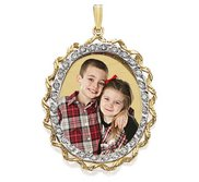 Large Oval with Diamond Frame Photo Pendant Picture Charm