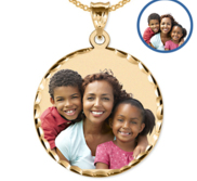 XXL Round Pendant w  Diamond Cut Edge Picture Pendant