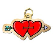 Double Heart and Arrow Charm