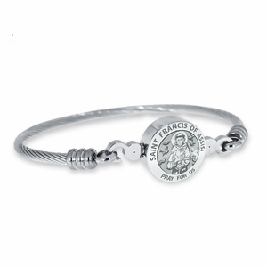 Stainless Steel Saint Francis of Assisi Bangle Bracelet