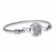 Stainless Steel Saint Michael Bangle Bracelet