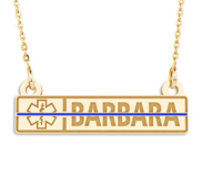Personalized EMT Name Bar Pendant with Blue Enamel and 18  Chain
