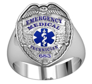 Emergency Medical Technician   EMT Ring w  Your Badge Number