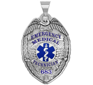 Personalized EMT Badge with Your Badge Number and Blue Enamel