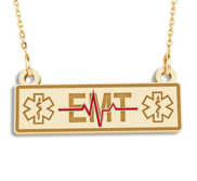 Emernergency Medical Technician   EMT Rectangle Pendant w  Red Enamel and 18  Chain