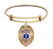 Personalized EMT Badge with Your Badge Number Expandable Bracelet