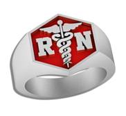 Registered Nurse   Hexagon Shaped Signet RN Ring