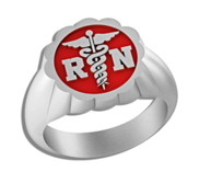 Registered Nurse   Floral Shaped Signet RN Ring