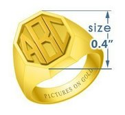 Boy s Octagonal Embossed Monogram Ring