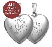 Build Your Own Sterling Silver 2 Picture Mom Heart Locket