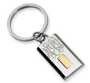 Engravable Stainless Steel Keychain with 24k Gold Plating
