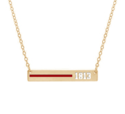 Personalized Horizontal Thin Red Line Firefighter Necklace w  18  Chain