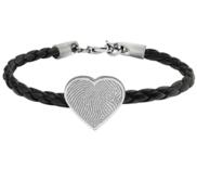 Fingerprint Leather Rope Bracelet w  Stainless Steel Heart Charm